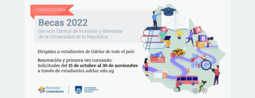 """Imagen de contorno de Uruguay con ilustraciones y texto: """"Becas 2022 Servicio Central de Inclusión y Bienestar de la Universidad de la República dirigidas a estudiantes de Udelar de todo el país"""