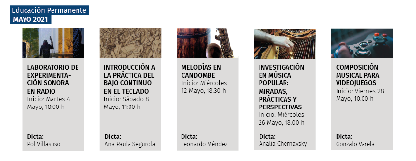 Afiche mensual mayo, 5 columnas, cada una encabezada por una miniatura de imagen del afiche de cada